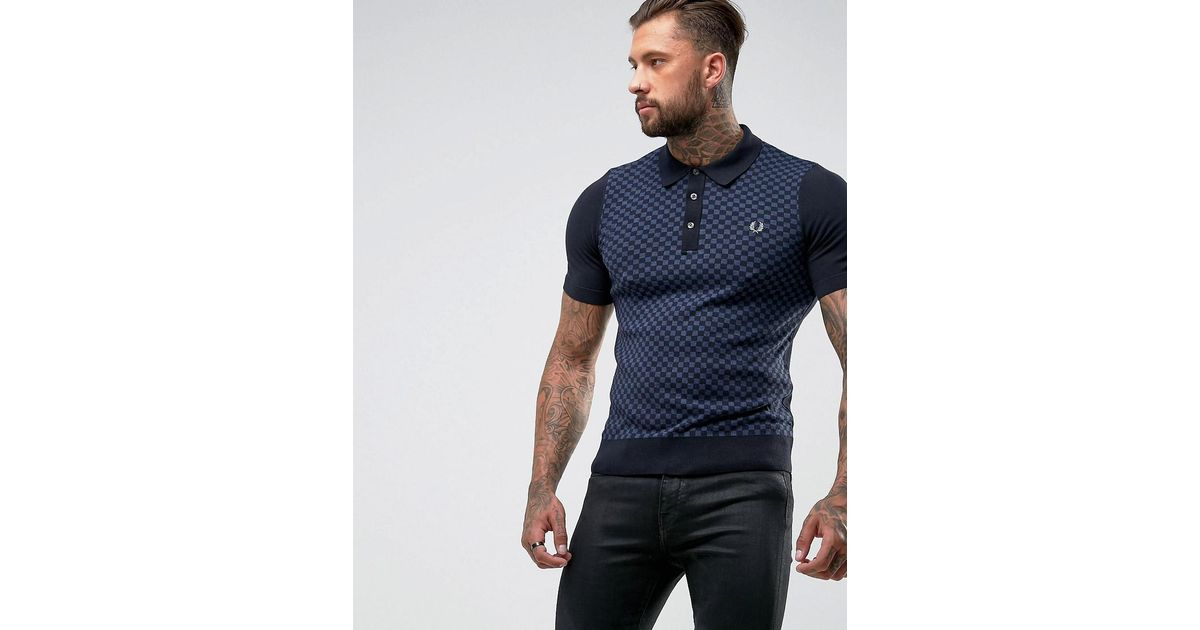 700464c5e56 Fred Perry Tonal Gingham Knitted Polo Shirt In Navy in Blue for Men - Lyst