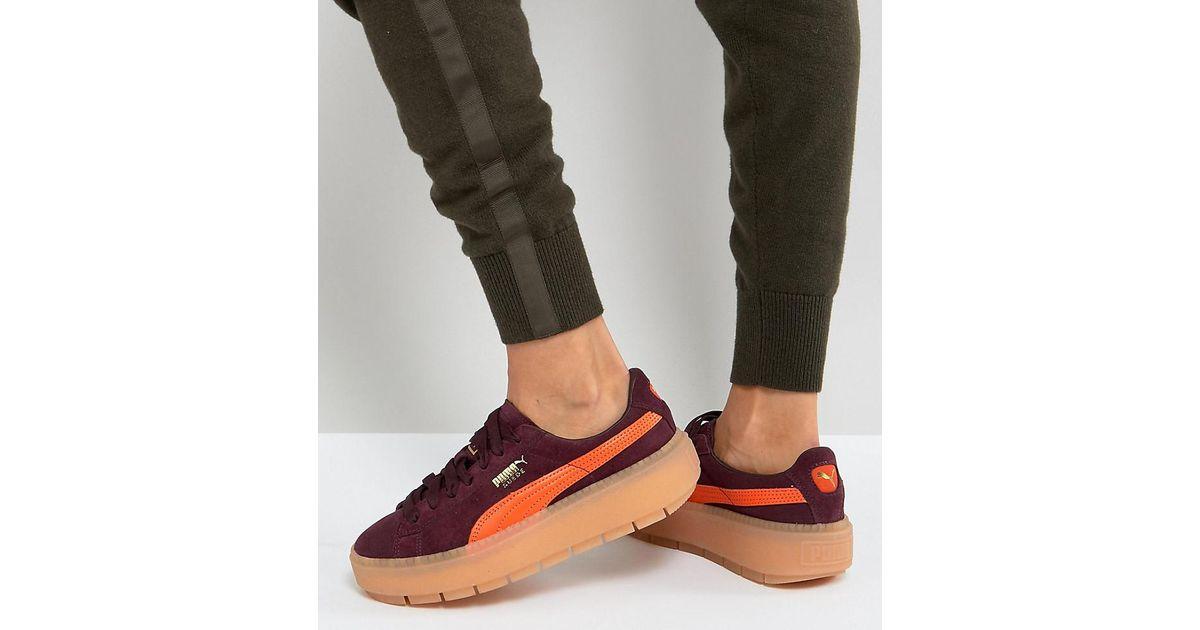 Puma Suede PLATFORM TRACE  Lyst - Puma Trace Platform Sneakers In Burgundy  And Orange i top fashion c06c5 4c4a5 . ... 777d1751b