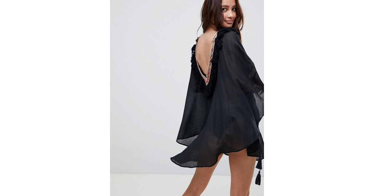 bc3f12bb23 ASOS Fringed Tape Kimono Beach Cape Cover Up in Black - Lyst