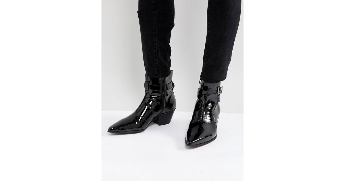 2101437a44d Lyst - ASOS Asos Chelsea Boots In Black Patent Leather With Cuban Heel in  Black for Men