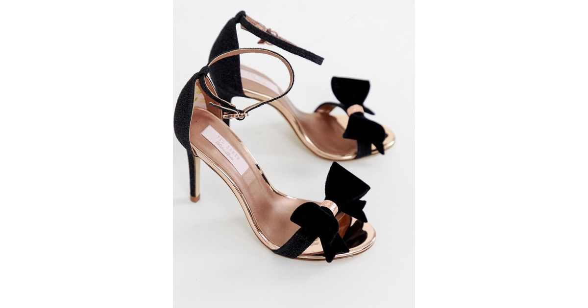 01dffeab6 Lyst - Ted Baker Black Sparkling Bow Detail Barely There Heeled Sandals in  Black