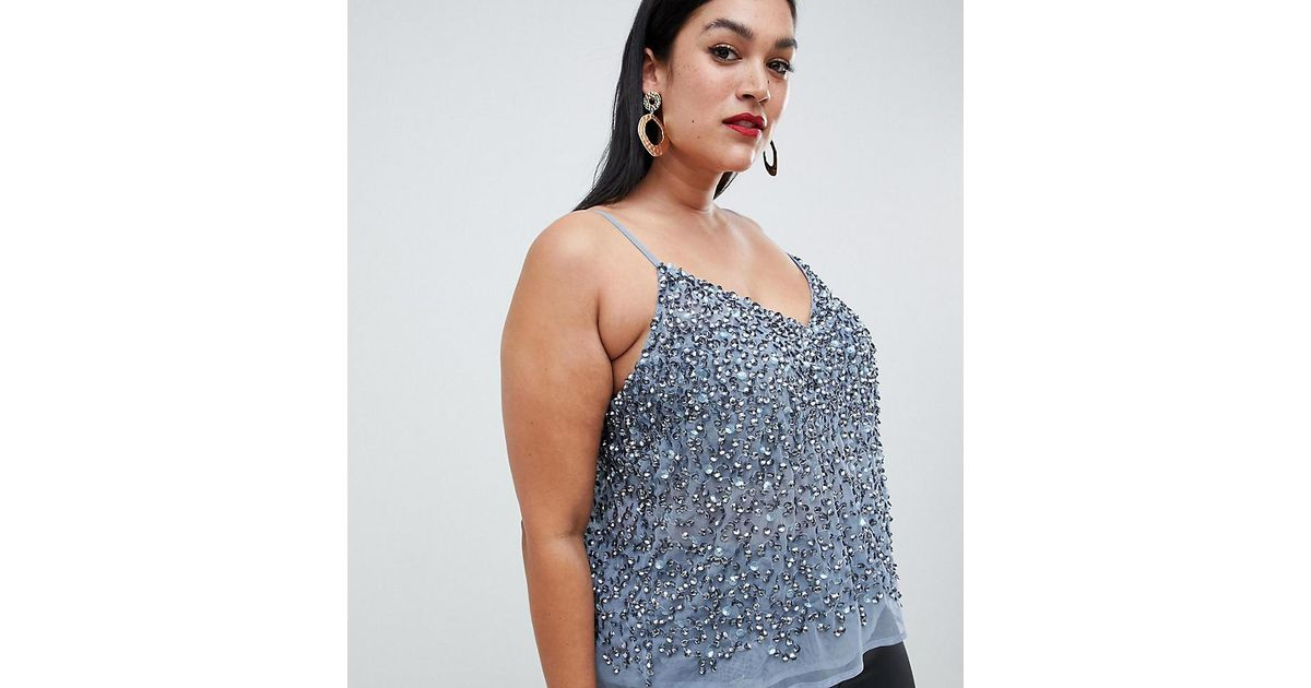 9bbfdf33021 Asos Asos Design Curve Cami Top With Sequin Embellishment in Blue - Lyst