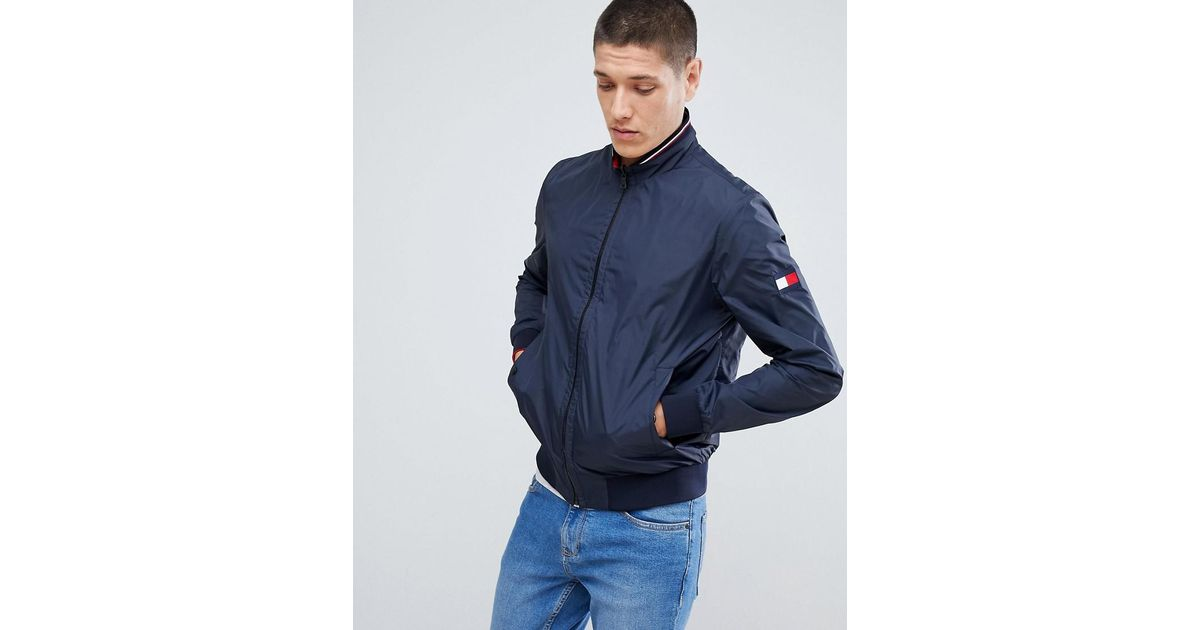 ec68a634 Tommy Hilfiger Reversible Lightweight Bomber Jacket Sleeve & Chest Flag Logo  In Navy/red in Blue for Men - Lyst