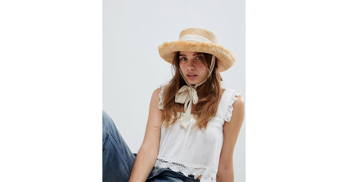 dd4f988bac21a9 ASOS Natural Raw Edge Straw Hat With Chin Tie And Size Adjuster in Natural  - Lyst