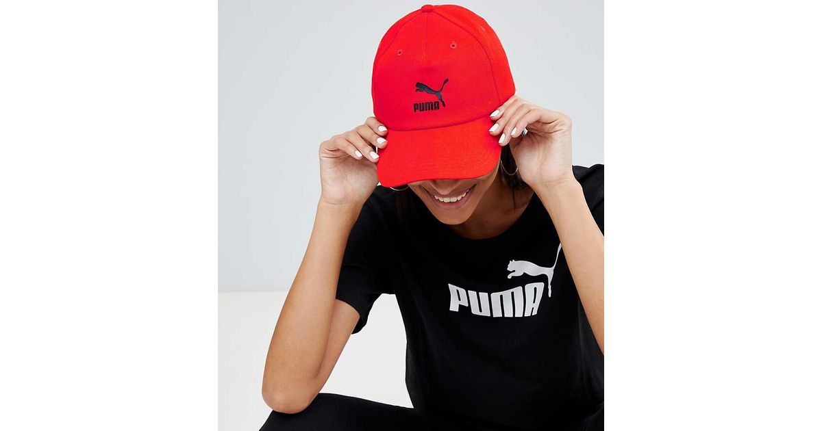 24065abc6a9 PUMA Exclusive Logo Cap With Taping In Red in Red - Lyst