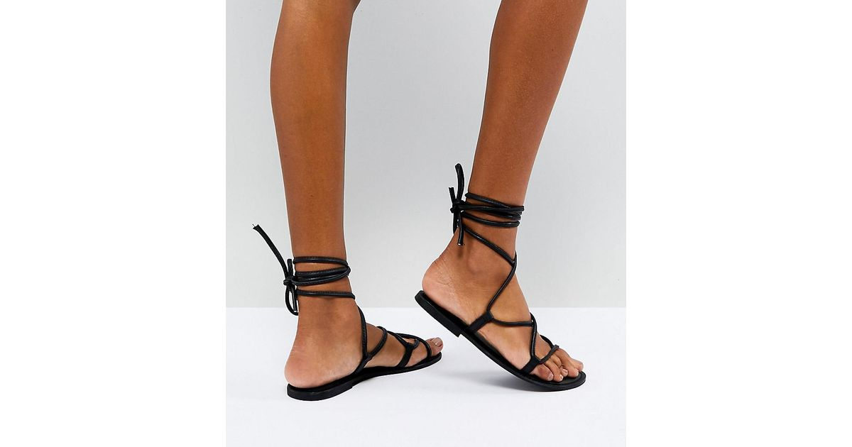 FLOW Leather Tie Leg Flat Sandals cheap the cheapest discount 100% guaranteed free shipping 100% guaranteed pc2ej