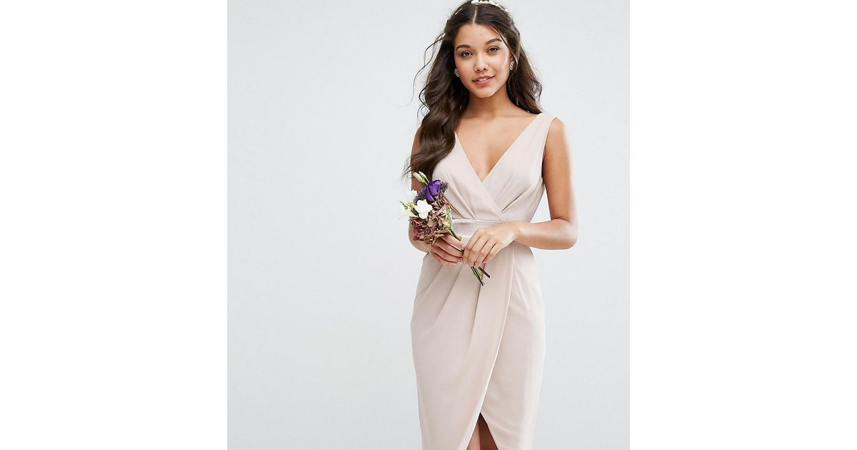 96637d0d1232 Lyst - Tfnc London Wedding Wrap Midi Dress With Bow Back in Pink