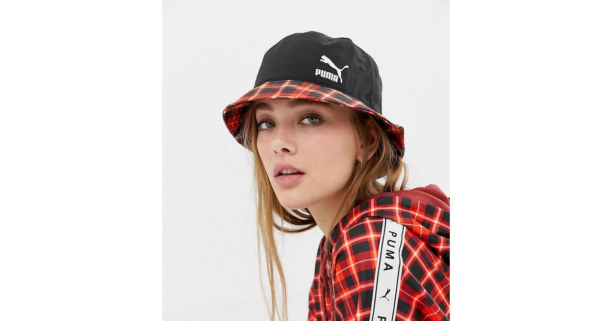 81d123520a68a PUMA Exclusive Red Check Bucket Hat in Red - Lyst