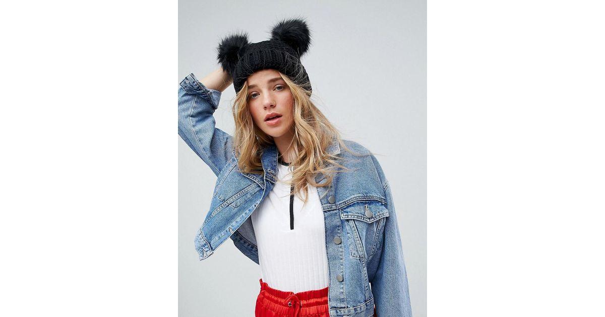 0d125bcef5d New Look Double Faux Fur Pom Hat in Black - Lyst