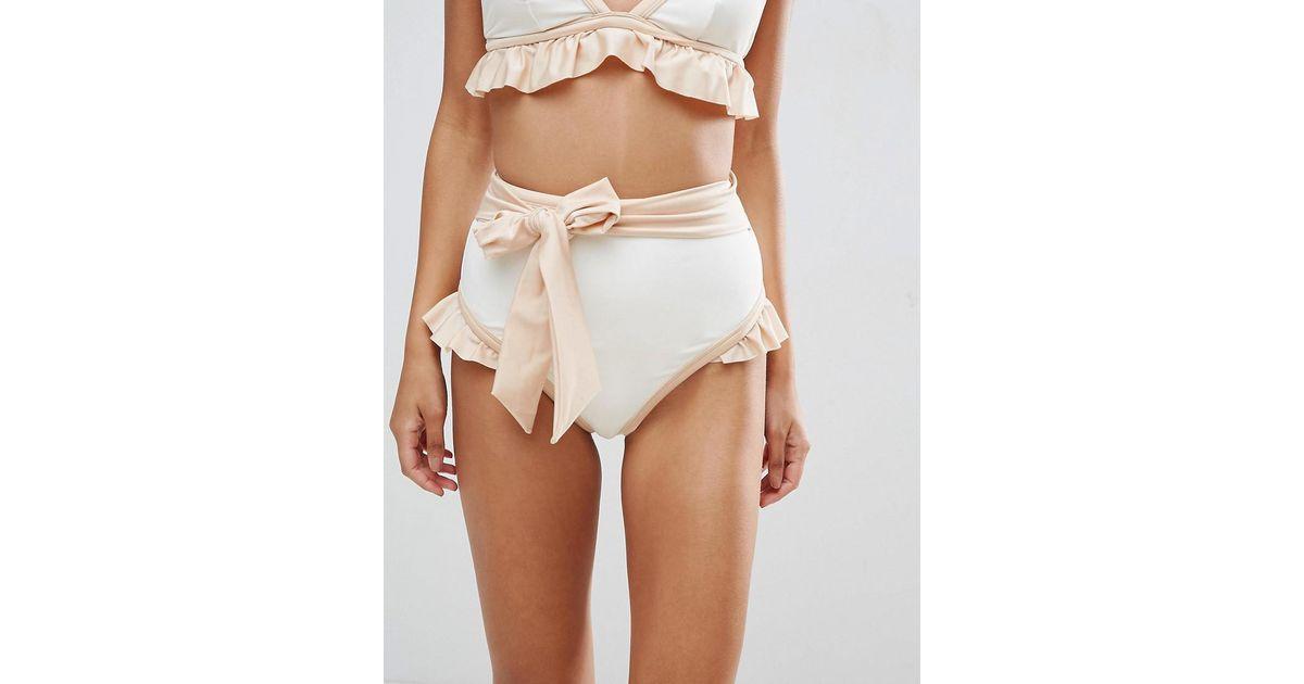 52f80496b ASOS Bridal Contrast Tie High Waist Frill Bikini Bottom in White - Lyst