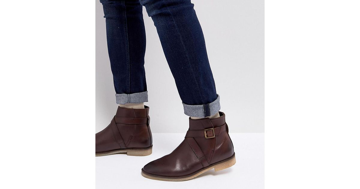 36becb4667e54 ASOS Asos Wide Fit Chelsea Boots In Brown Leather With Strap Detail And Natural  Sole in Brown for Men - Lyst