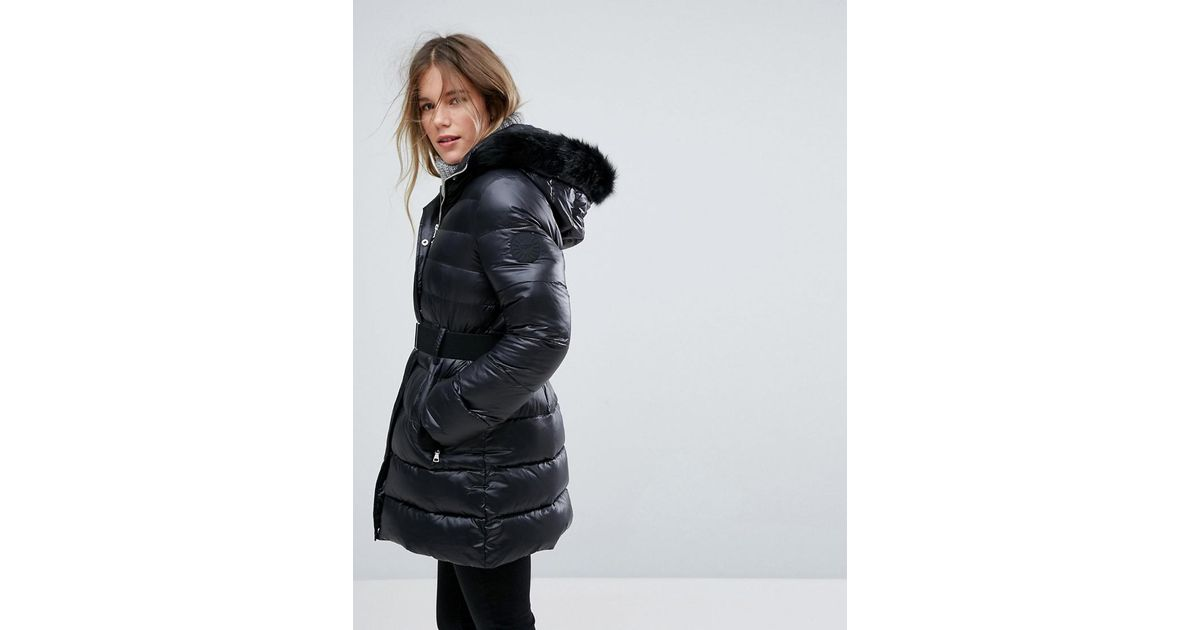 Lyst - UGG Belted Down Jacket With Removable Toscana Faux Fur Hood in Black ae1ffbb17