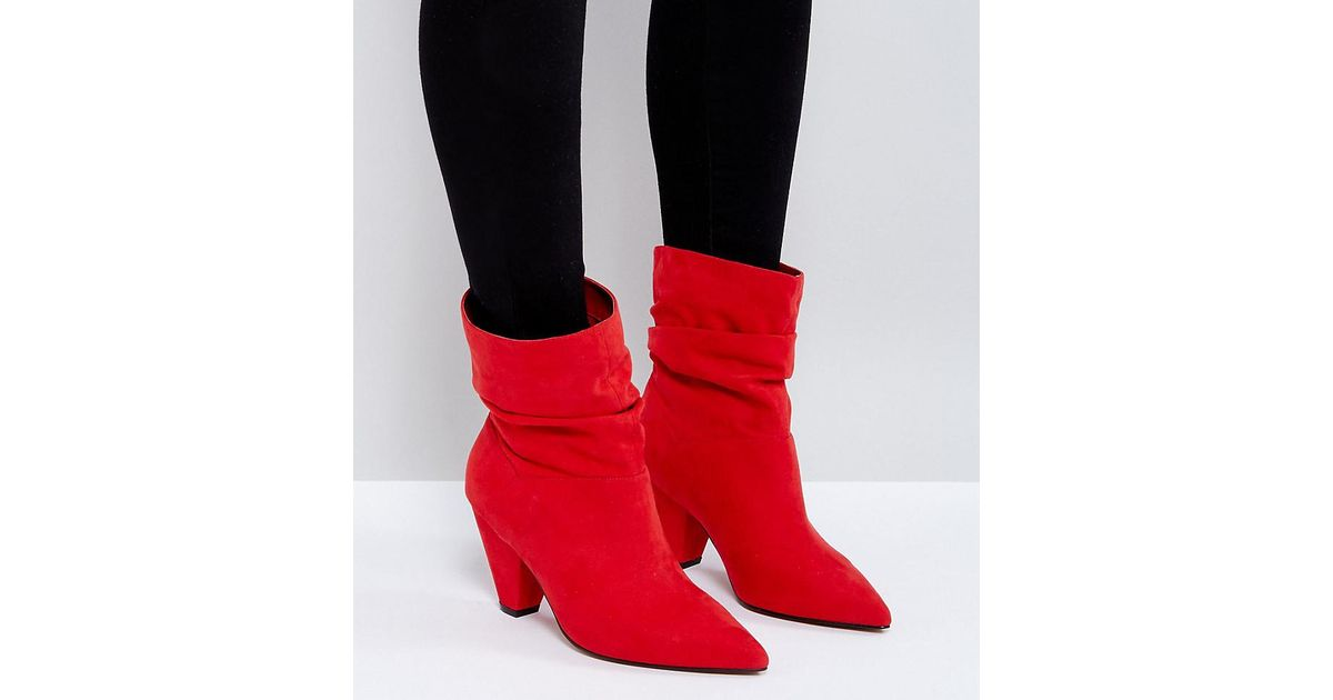 5e155d5a5f88 Lyst - ASOS Reeves Wide Fit Slouch Heeled Ankle Boots in Red
