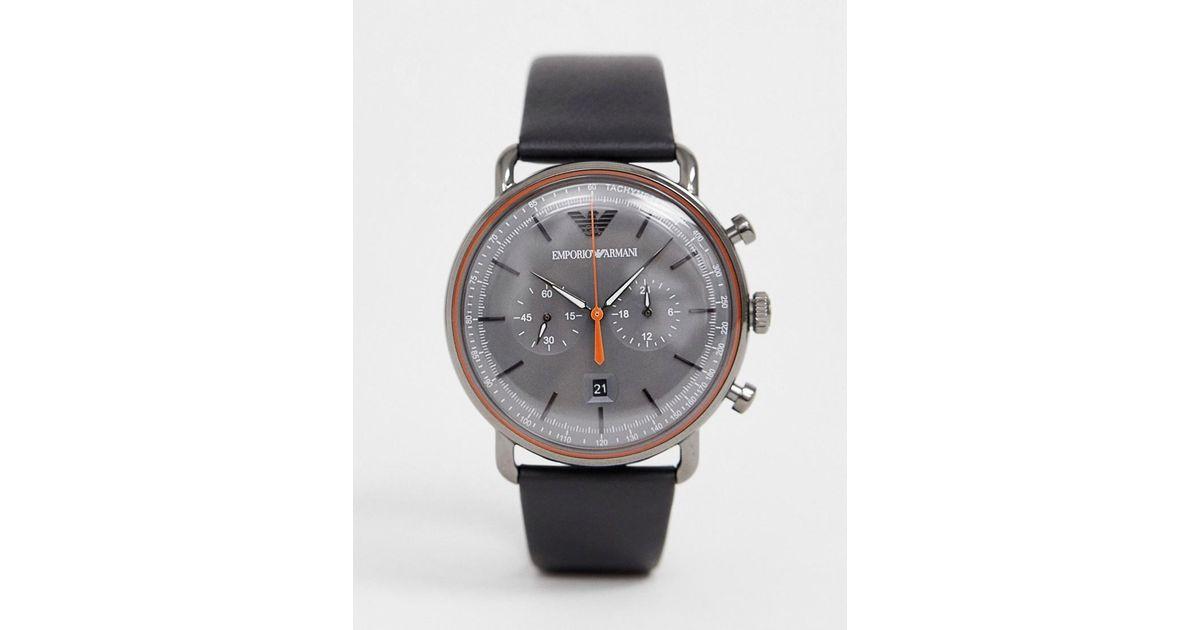 9dbc847833 Reloj de cuero de 43 mm Aviator AR11168 de Emporio Armani de hombre de  color Negro - Lyst