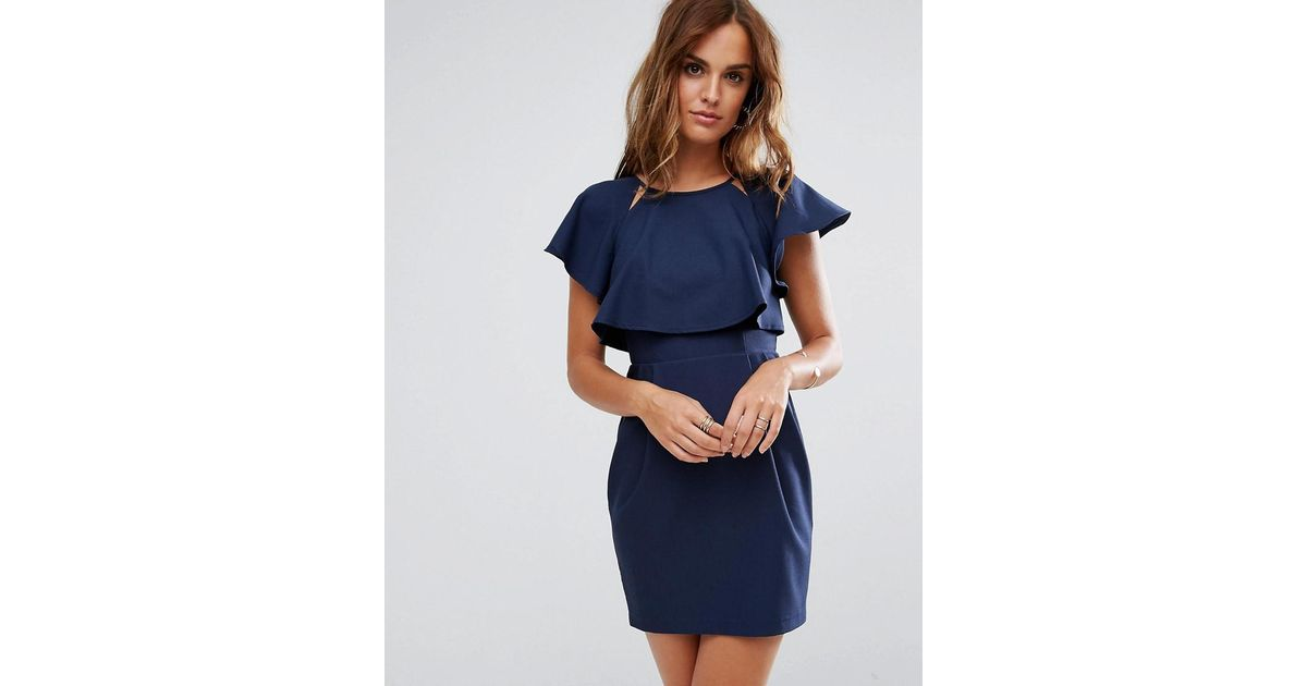 1b75f98295c ASOS Asos Double Layer Mini Wiggle Dress With Angel Sleeve in Blue - Lyst