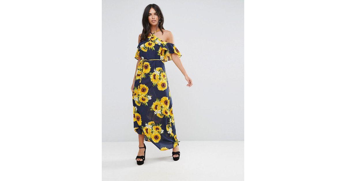 af90ba27d92 AX Paris Navy Strappy Sunflower Maxi Dress in Blue - Lyst