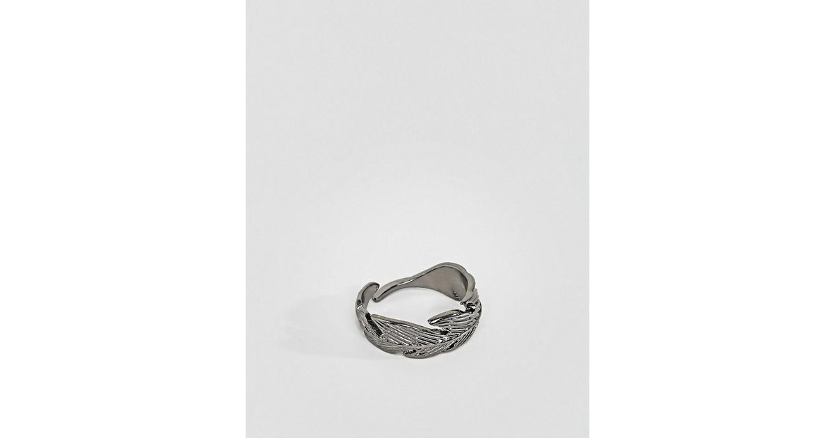 7668caf40 Icon Brand Feather Wrap Ring In Gunmetal in Metallic for Men - Lyst