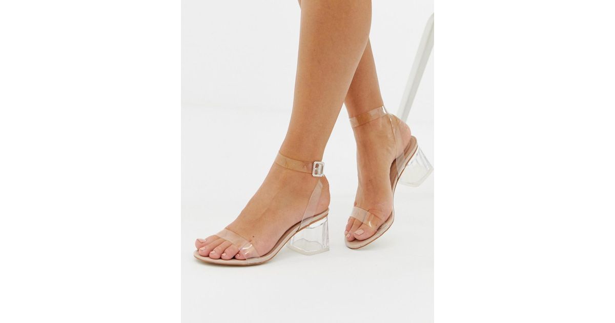 d44d70b81b61 Lyst - Public Desire Afternoon Mid Clear Heeled Sandals in Natural
