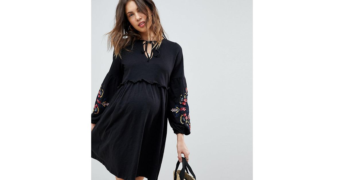 662c5b9a9e697 ASOS Asos Design Maternity Embroidered Sleeve Smock Dress in Black - Lyst