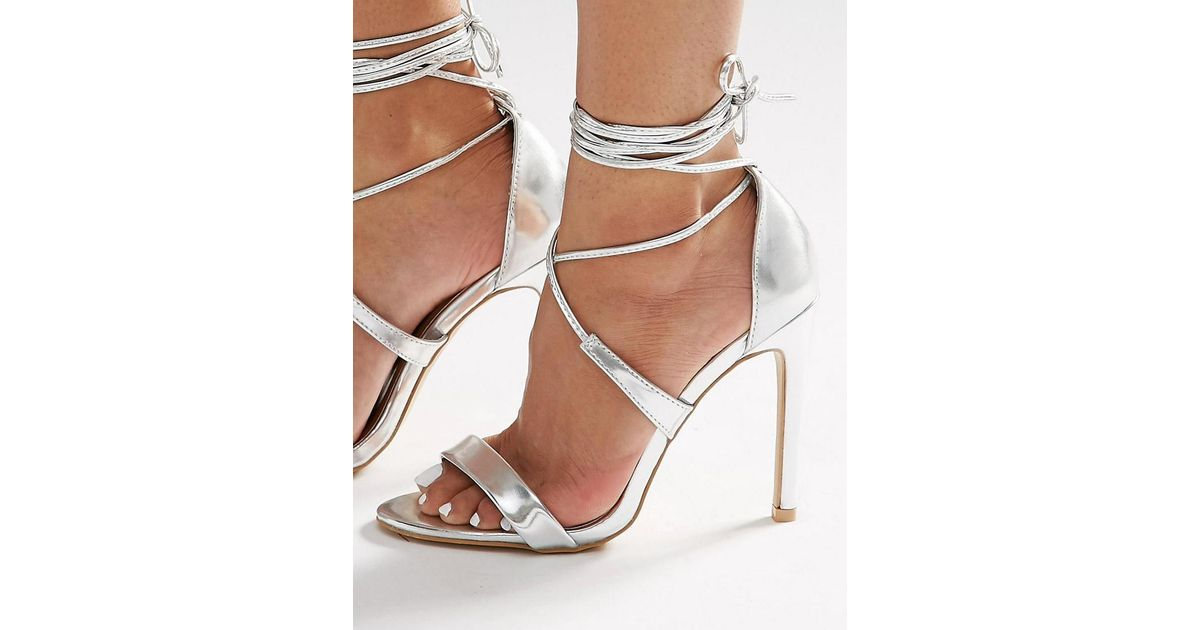 e2dfc30b69b3 True Decadence Silver Metallic Ankle Tie Heeled Sandals In