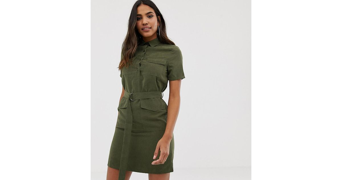 d4bab48c83 Boohoo Belted Utility Mini Shirt Dress With Pockets In Khaki in Green - Lyst