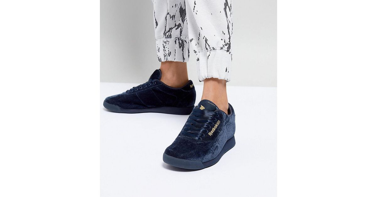41943ebdd89 Lyst - ASOS White X Reebok Princess Sneakers In Velvet in Blue