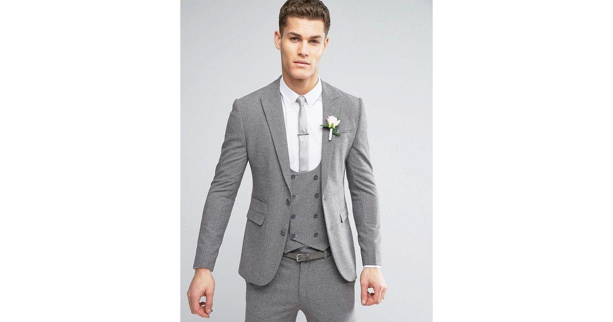 Lyst - Asos Wedding Super Skinny Suit Jacket In Mini Check In Gray ...