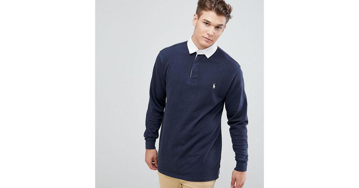 f3ccc4653fd Polo Ralph Lauren Big & Tall Long Sleeve Rugby Polo Contrast Collar Player  Logo In Navy in Blue for Men - Lyst
