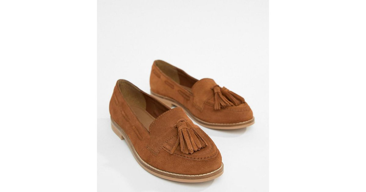 75ca8e0037a Lyst - ASOS Messenger Wide Fit Suede Tassel Loafers in Brown