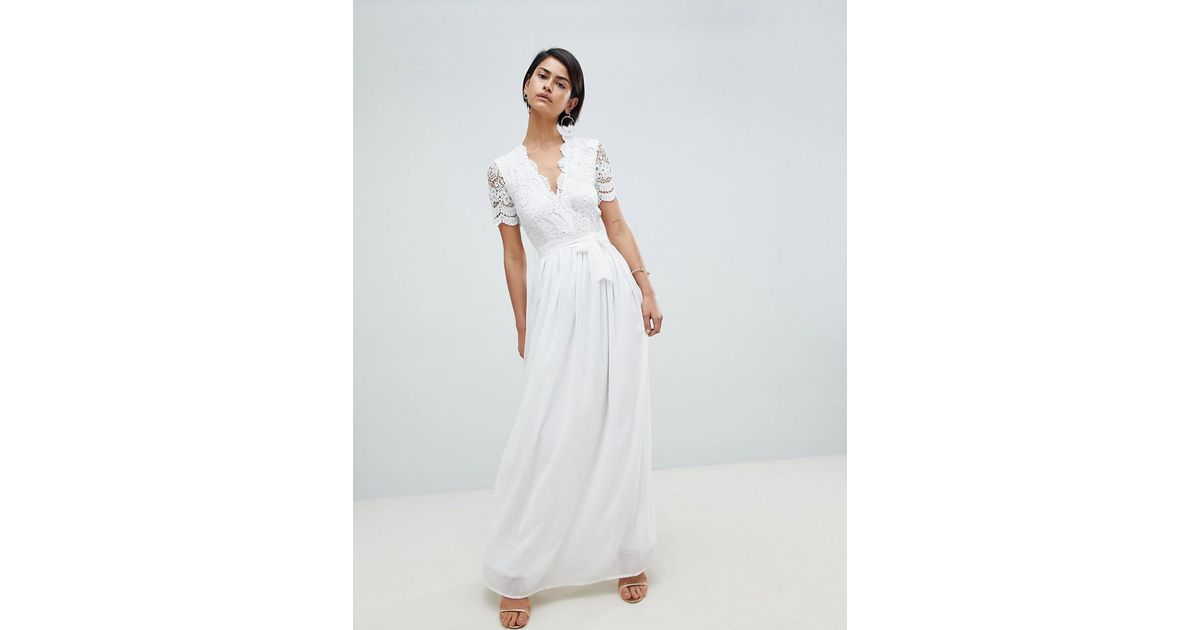 621e1666330 Club L Short Sleeve Crochet Lace Maxi Dress With V Neck in White - Lyst