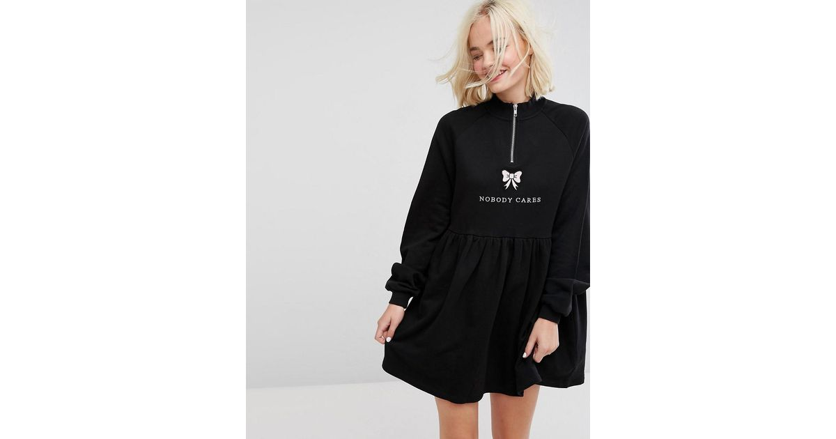 Zip Up Sweat Dress With Nobody Cares Zip Detail - Black Lazy Oaf Low Shipping For Sale YuKE9Bht
