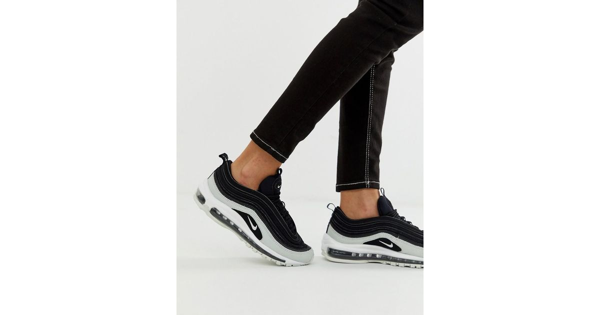 wholesale dealer a564e 7fa3c Nike Air Max 97 Premium Trainers In Black Cracked Leather in Black - Lyst