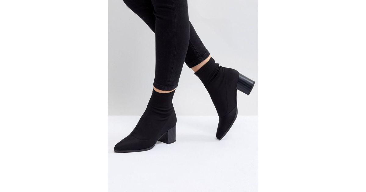 983d50064806 ASOS Asos Ricky Mid Heeled Sock Boots in Black - Lyst