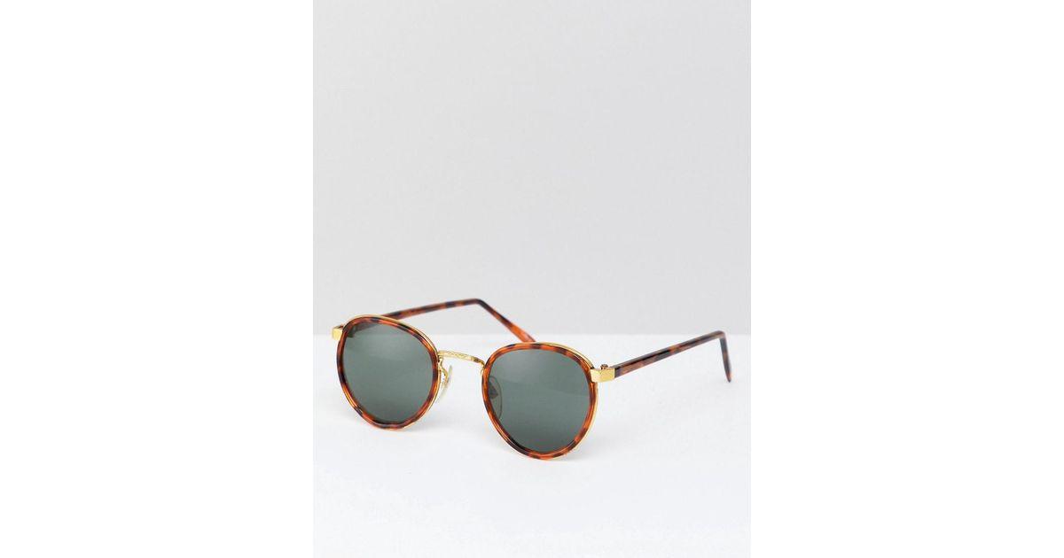2c9b83fd7f7f2 Lyst - Lunettes de soleil rondes motif caille de tortue exclusivit ASOS  Reclaimed (vintage) pour homme en coloris Marron