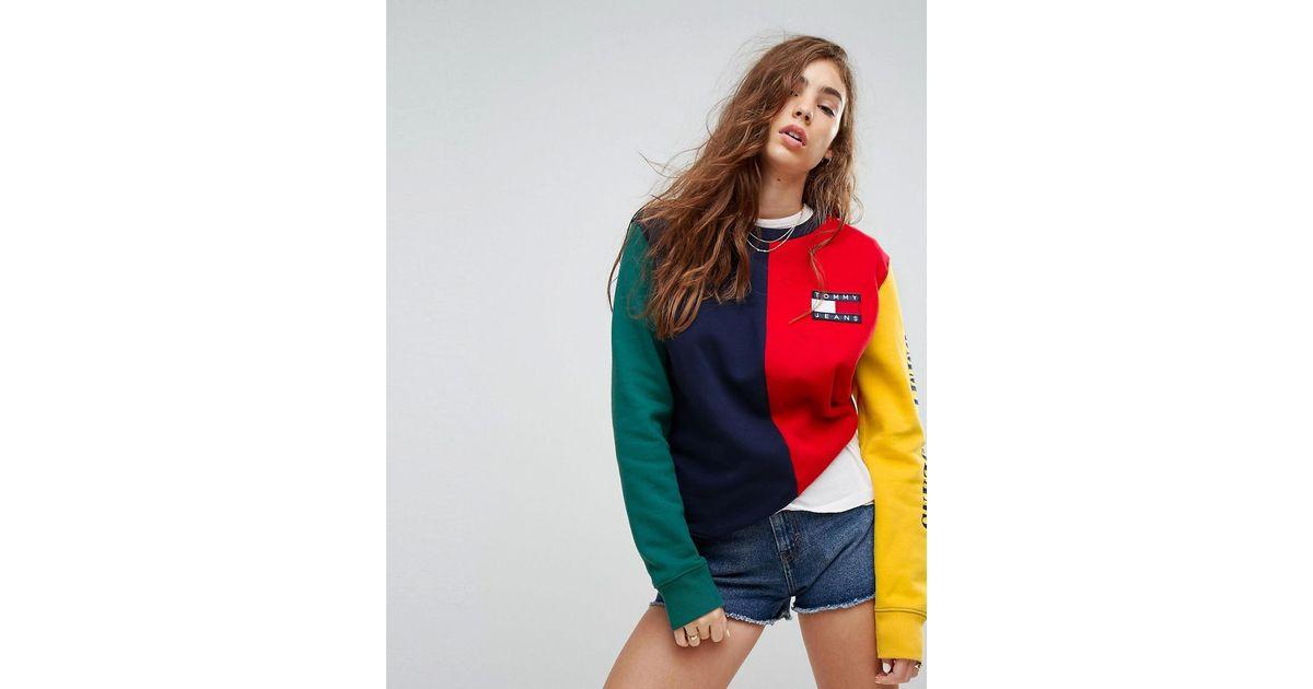 5f0cde22 Tommy Hilfiger Tommy Jeans 90s Capsule Colourblock Sweatshirt - Lyst