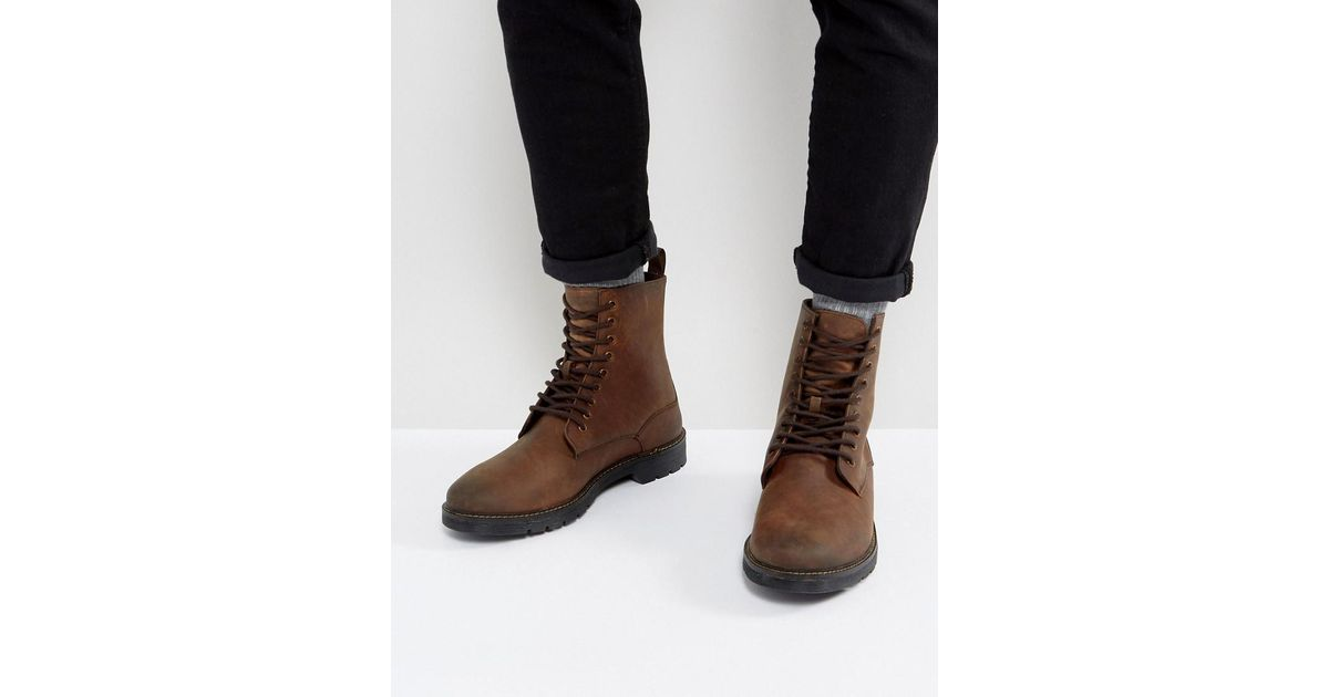 Stradivarius Leather Lace Up Boots In 6vbyWj