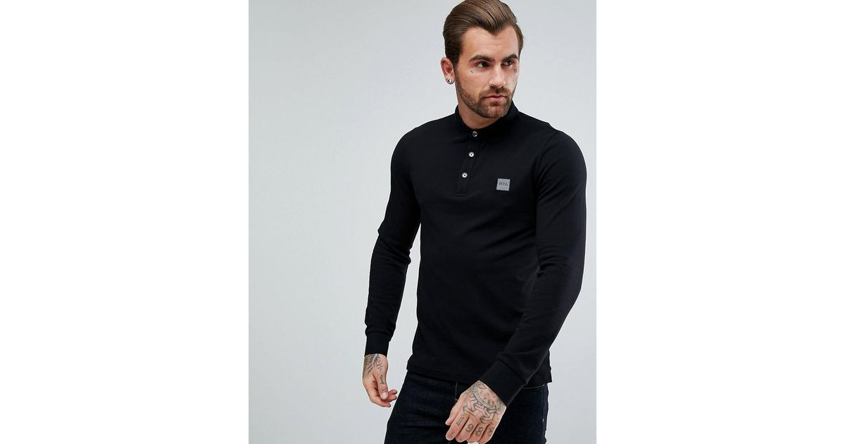 31faf42a1 BOSS By Hugo Boss Paulyn Slim Fit Long Sleeve Polo Shirt In Black in Black  for Men - Lyst