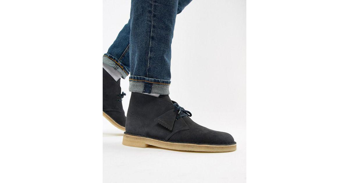 Clarks Desert Boots In Ink Suede in Blue for Men - Lyst 33b5594e07ef