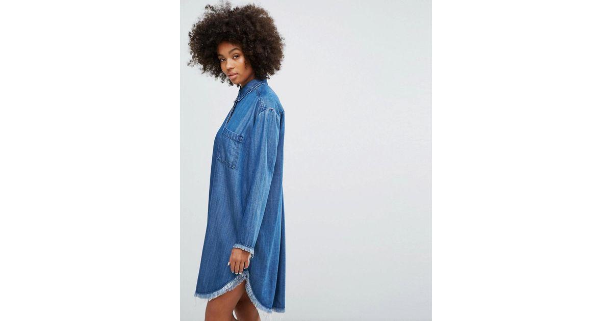 1ca67e9e440 Lyst - Weekday Denim Shirt Dress With Frayed Hem Detail in Blue