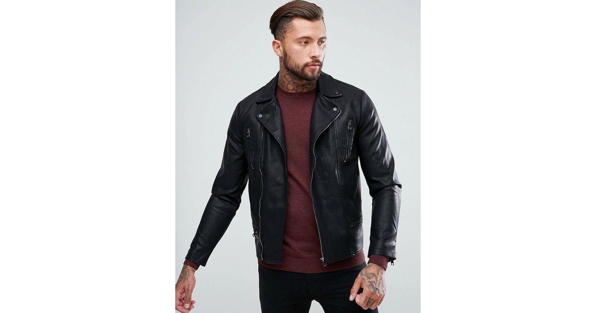 Lyst New Look Biker Jacket In Black In Black For Men