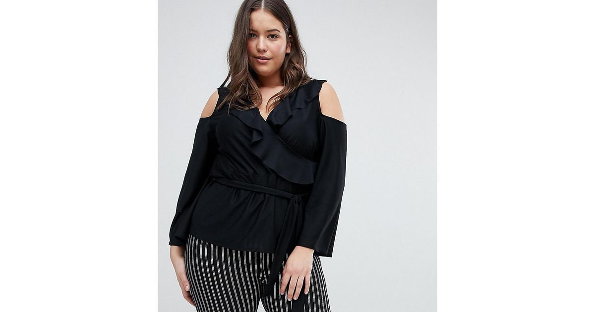 b2eb13750e605 ASOS Asos Design Curve Wrap Top With Ruffle Cold Shoulder in Black - Lyst