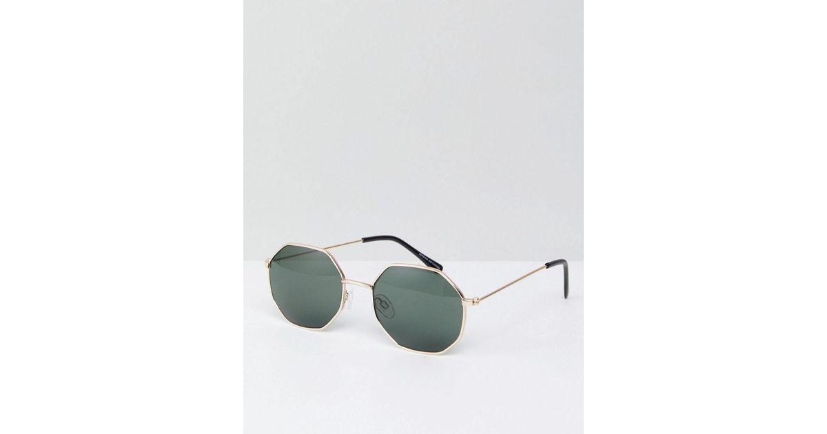 Lyst - Bershka Hexagonal Sunglasses In Gold Frame With Black Lenses in Black  for Men c1d4448a97d