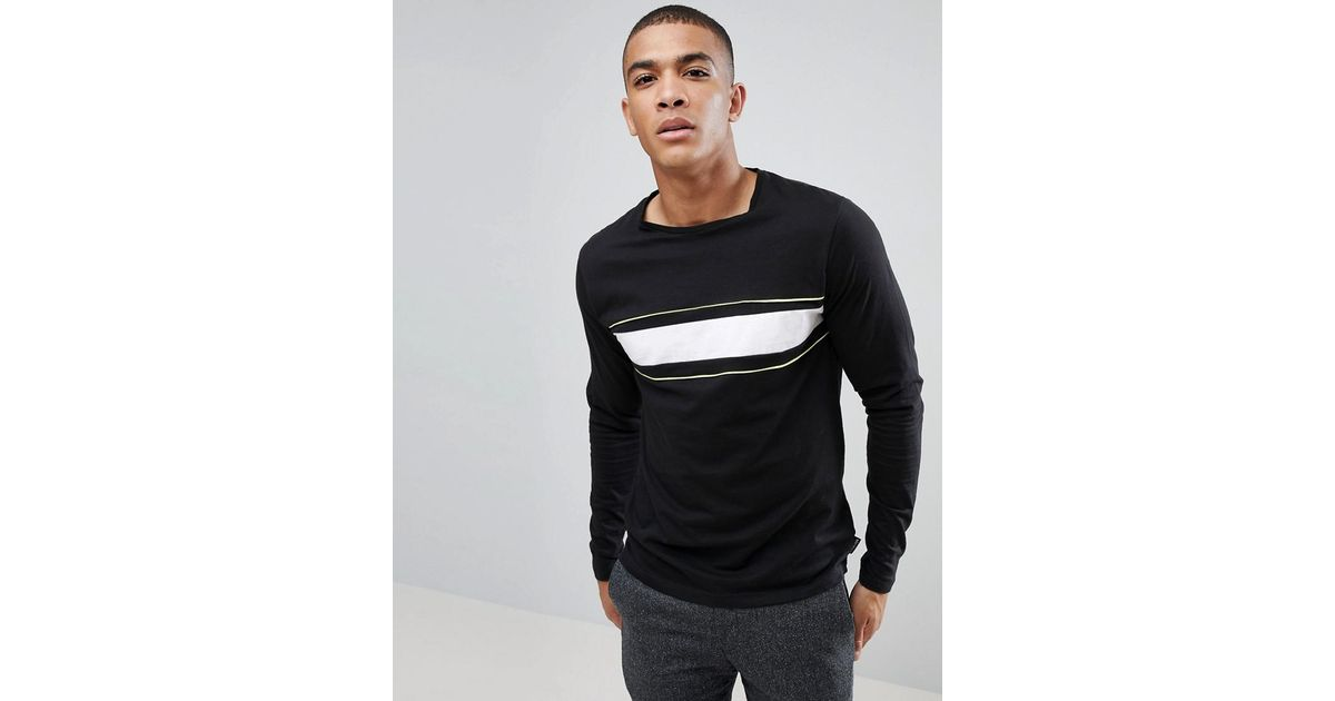 Chest Stripe Long sleeve Top - Black D-Struct Outlet Prices X9t05GGb