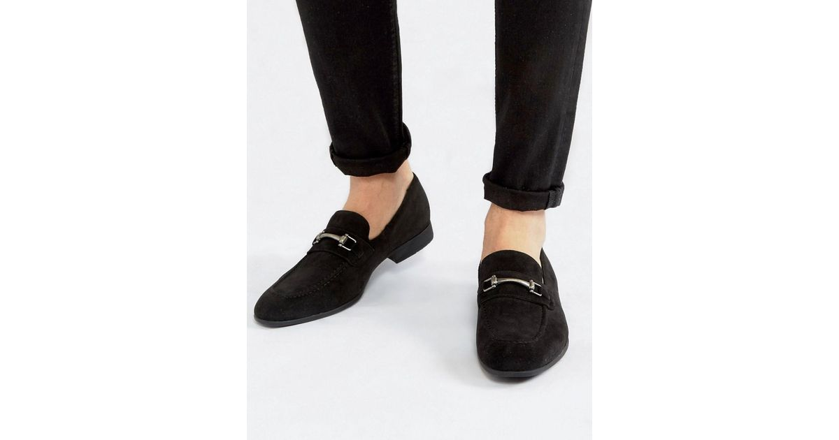 346acc3838 ASOS Loafers In Black Faux Suede With Snaffle Detail in Gray for Men - Lyst