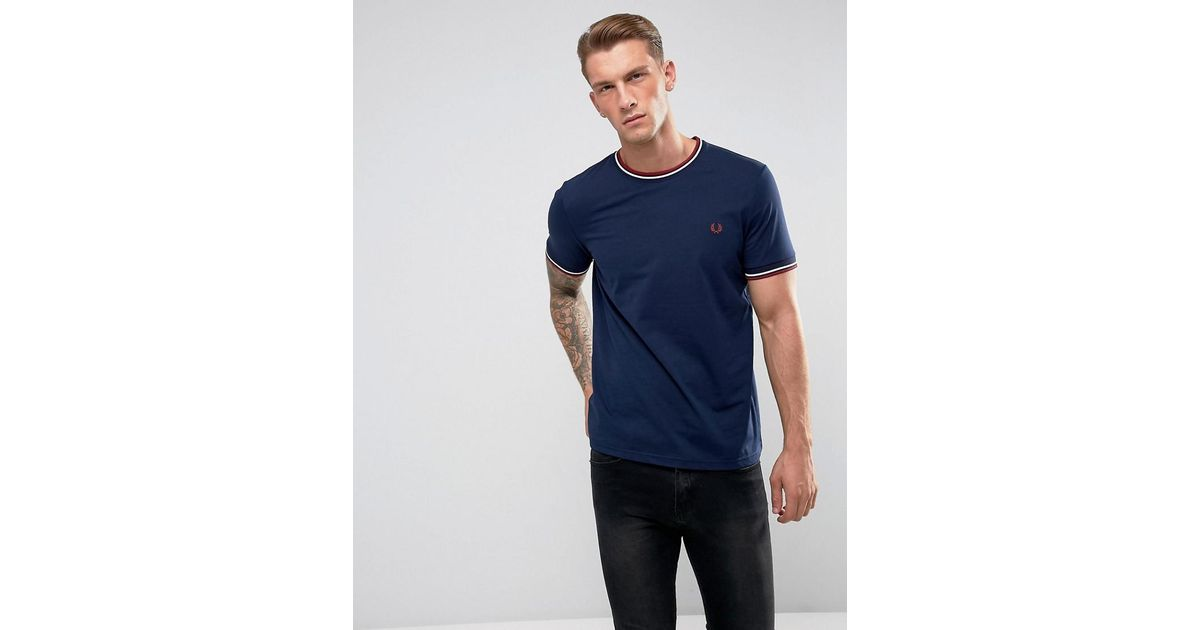 efbdb992 Fred Perry Slim Fit Crew Neck Twin Tipped T-shirt Navy in Blue for Men -  Lyst
