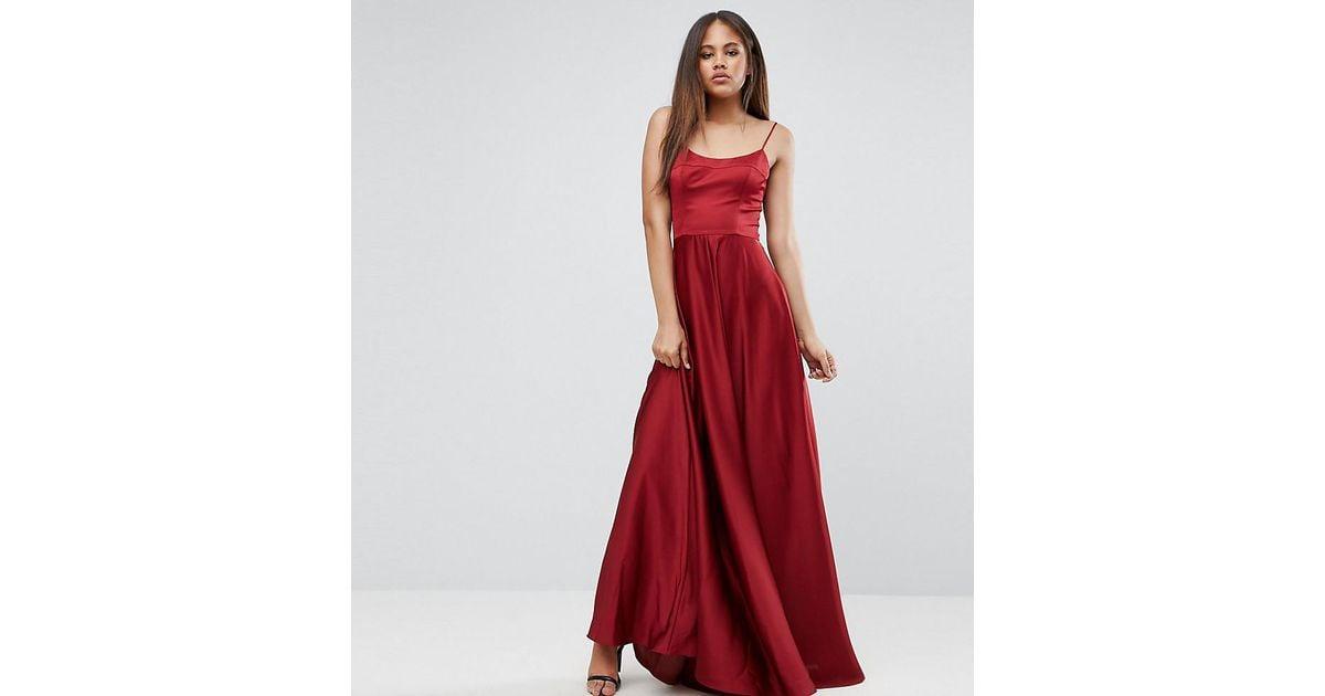 e18f81a65ff ASOS Square Neck Cami Maxi Dress in Red - Lyst