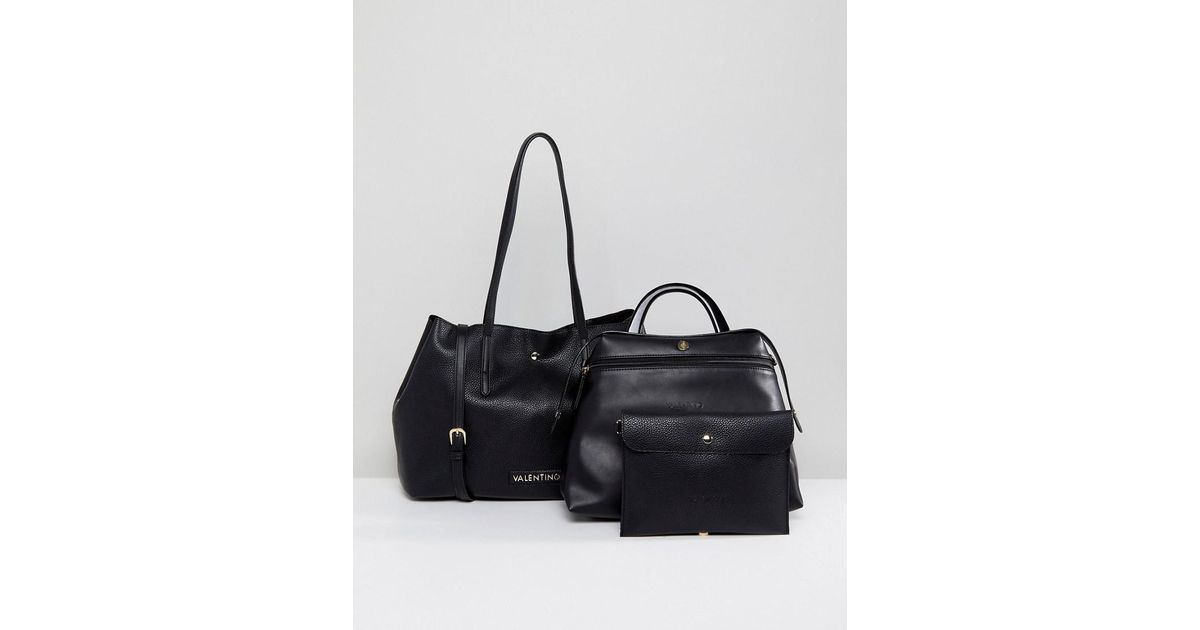 e7c1a02158fc Valentino By Mario Valentino Slouchy 3 In 1 Tote Bag In Black in Black -  Lyst