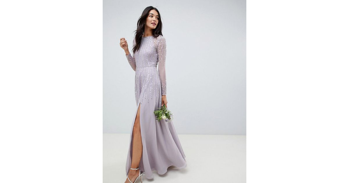61ad0b153ad ASOS Maxi Dress In Delicate Linear Sequin With Long Sleeves in Gray - Lyst