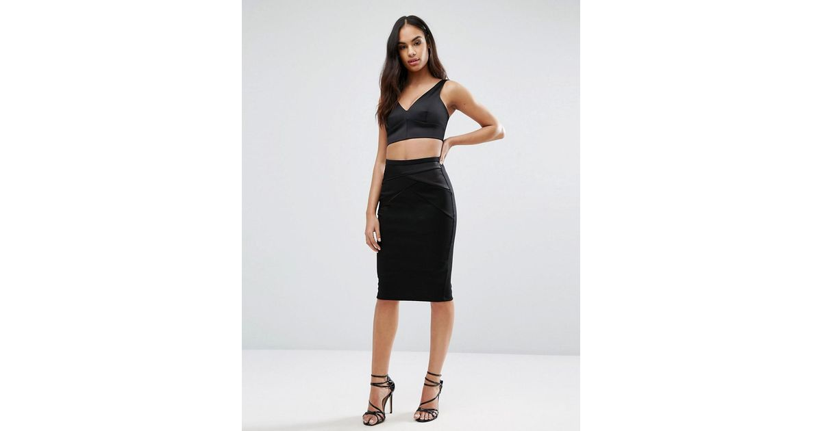 1d5e21ed4 Lipsy Michelle Keegan Loves Pencil Skirt With Satin Trim in Black - Lyst