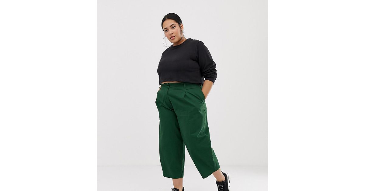 Lyst - ASOS Asos Design Curve Balloon Leg Trousers With Lace Up Back In  Green in Green 7e17448b61
